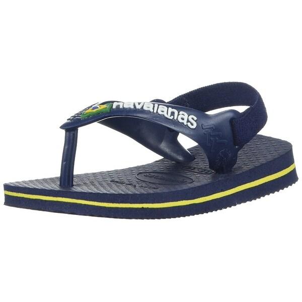 c4001abe92fa51 Havaianas Kids  x27  Baby Brazil Logo Sandal Navy Blue Citrus Yellow - 17