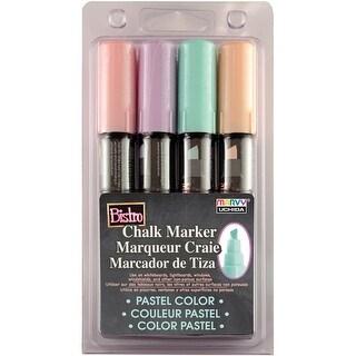 Bistro Chalk Marker Chisel Tip Set 4/Pkg-Pastel Yellow, Pink, Green & Blue