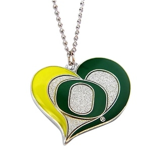 Oregon Ducks Swirl Heart Necklace NCAA Charm Gift