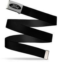 Ford Oval Brushed Silver Black  Cam Black Webbing Web Belt