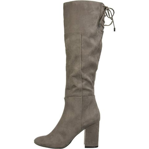 Kenneth Cole New York Women's Shoes Corie Lace Fabric Closed Toe Knee High Fa...