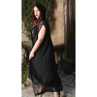 Plus Size Emmy Lace And Mesh Hooded Cape - Black