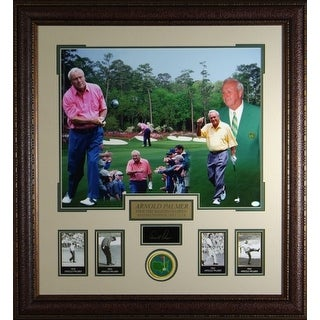 Arnold Palmer unsigned Engraved Signature Series Collection 30x32 Masters Photo Collage Leather Framed