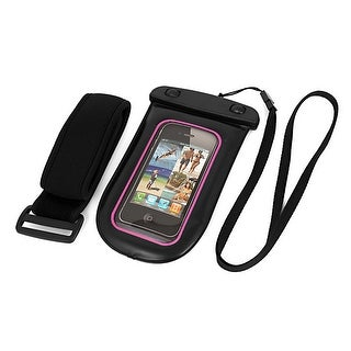 Unique Bargains Waterproof Pouch Bag Holder Pink for iPhone6 w Neck Strap Armband