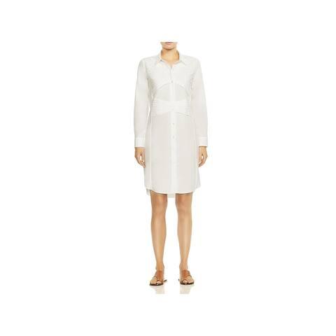 Halston Heritage Womens Shirtdress Pintuck Button-Down - White - 6