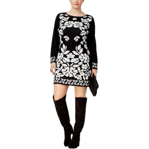 3569faa5163 NY Collection Womens Plus Sweaterdress Jacquard Mini