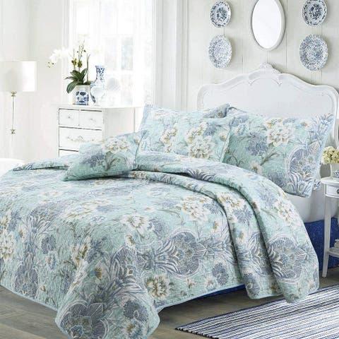 Cozy Line Jasmine Floral 3-piece Reversible Cotton Quilt Set