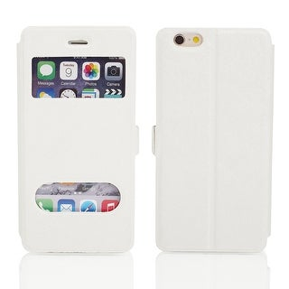 Magnetic Flip Faux Leather Pouch Case Cover Skin White for iPhone 6 4.7