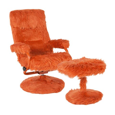 Offex East Side Contemporary Swivel Recliner and Ottoman in Orange Fur