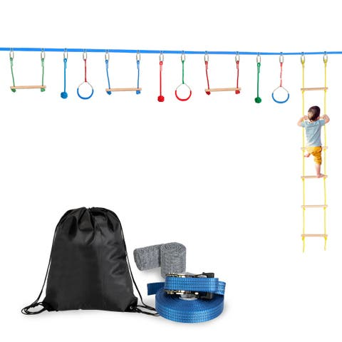 Slackline Bar Kit Outdoor Tree Hanging Obstacles Line Accessories Play Set