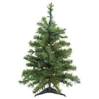 2' Pre-Lit Canadian Pine Artificial Christmas Tree - Multi Lights - Green