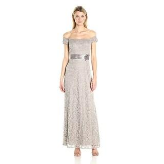 Alex Evenings Lace Off Shoulder A-Line Evening Gown Dress
