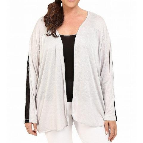 Marika Womens Gray Size 1X Plus Mesh-Inset Open-Front Cardigan Sweater