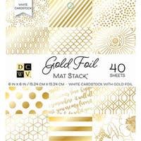 "Dcwv Single-Sided Cardstock Stack 6""X6"" 40/Pkg-Gold Foil - White W/Gold Foil"