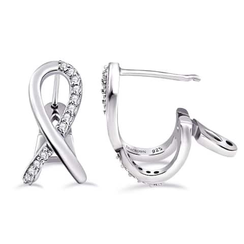 Diamond Sterling Silver Round Hoop Earrings by Diacrown