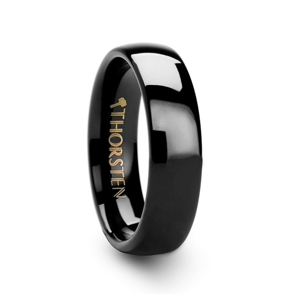 7adcc4dac235fa Shop THORSTEN - RAVEN Domed Black Tungsten Wedding Ring - 6mm - On Sale -  Free Shipping Today - Overstock - 17438210