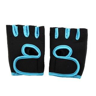 Sports Workout Adjustable Fitness Palm Support Half Finger Gloves Teal Blue Pair