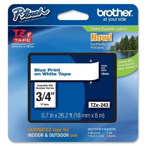 Brother international corporat tze-243 tze243 label,3/4 blue/wht - White