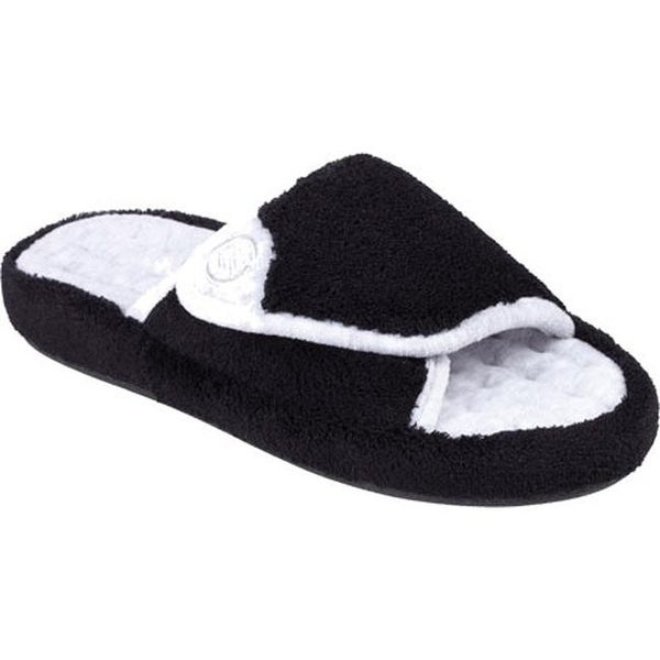 a755acef7f37 Isotoner Women  x27 s Microterry Pillowstep Spa Slide w Memory Foam Black