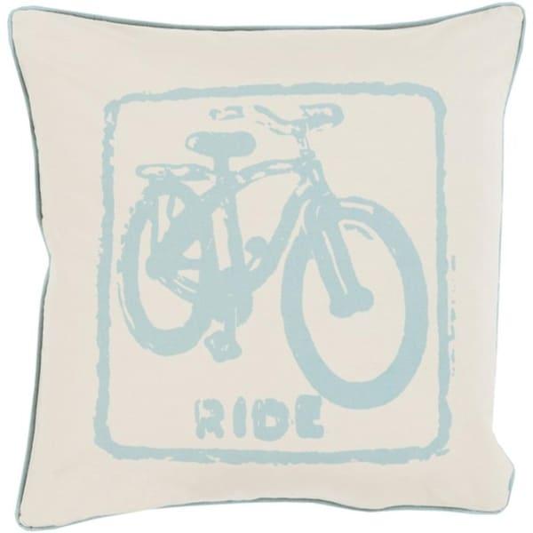 "20"" Beige and Light Blue Relaxing Ride Decorative Throw Pillow- Down Filler"