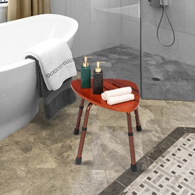6-Hole Adjustable Wooden Bath Chair Stool Natural Wood Color