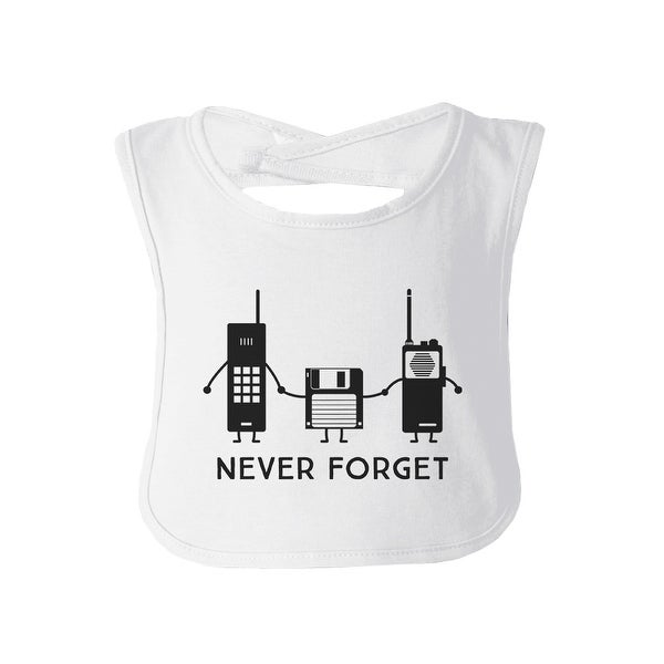 Never Forget White Baby Bib Funny Holiday Outfit For Baby Girl Boy