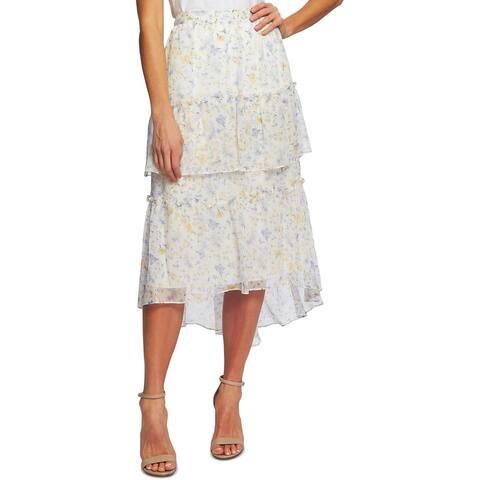 CeCe Womens Provence Maxi Skirt Floral Tiered - Soft Ecru