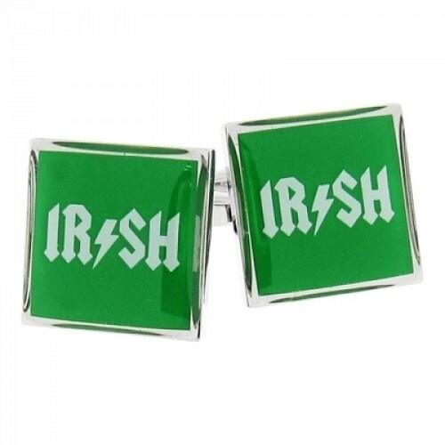 Irish Afac Lightening Bolt Cufflinks In Green