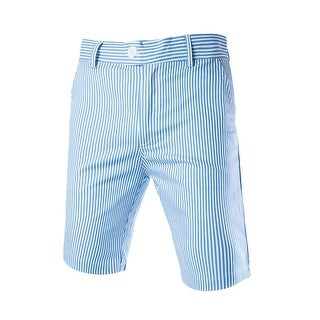 Unique Bargains Men Four Pockets Vertical Stripes Casual Chino Shorts