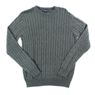 Club Room NEW Gray Mens Size 3XL Crewneck Cable-Knit Pullover Sweater