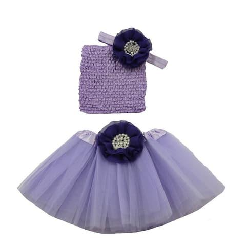 Girls Lavender Purple Pearl Flower Tutu Skirt Headband Set 0-8Y