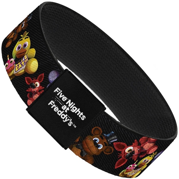 "Five Nights At Freddy's 4 Plushies Scattered Black Elastic Bracelet 1.0"" Wide"