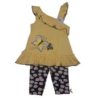 Children Apparel Little Girls Yellow Butterfly Floral Legging Outfit Set