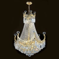 """Worldwide Lighting W83026G20 Empire 9-Light 1 Tier 20"""" Gold Chandelier with Clear Crystals - N/A"""