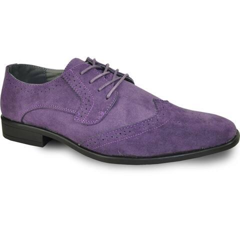 BRAVO Men Dress Shoe KING-3 Wingtip Oxford Shoe Purple - Wide Width Available