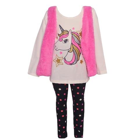 Girls Pink Little Girls White Pink Unicorn 3pc Shirt Vest Leggings Outift