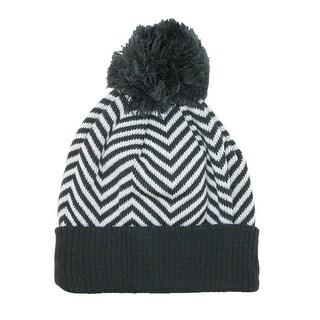 CTM® Women's Chevron Pom Cuffed Knit Beanie Hat - One Size