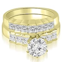 1.85 cttw. 14K Yellow Gold Princess and Round Cut Diamond Bridal Set