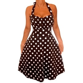 Funfash Plus Size New Black White Polka Dots Halter Rockabilly Dress