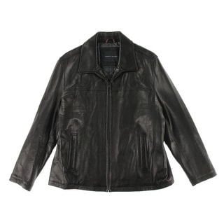 Tommy Hilfiger Mens Leather Long Sleeves Coat