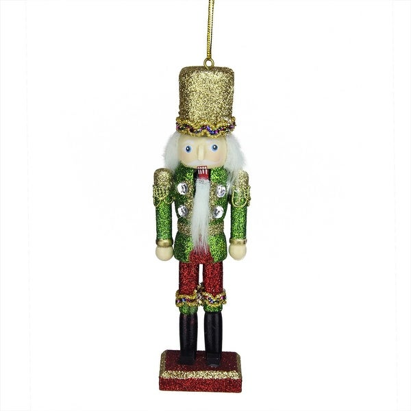 "6"" Green, Red and Gold Wooden Glittered Christmas Soldier Nutcracker Ornament - green"