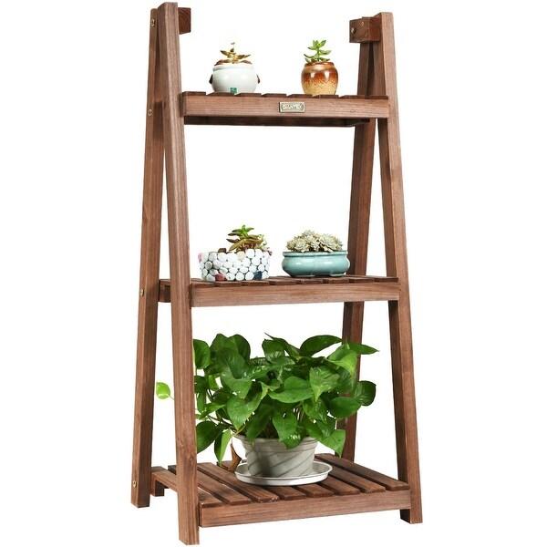 Costway 3-Tier Folding Flower Stand Rack Wood Plant Storage Display Shelf Multipurpose