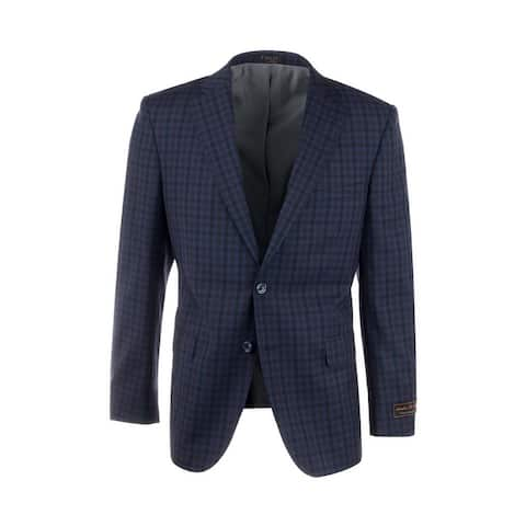 Dolcetto Navy Blue with Black and Purple Check Pattern Modern Fit, Pure Wool Jacket by Tiglio Luxe 74274/5