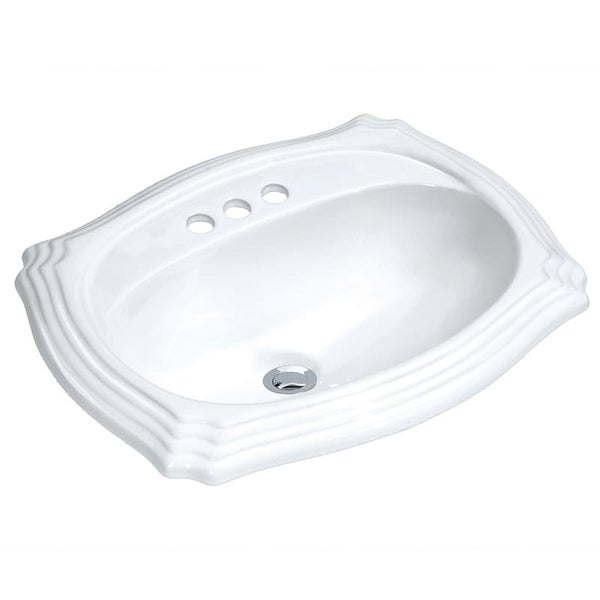 """Build Essentials DLS-SCAL-2318 18"""" Drop In Vitreous China Bathroom Sink with 3 Holes Drilled and Overflow - White"""