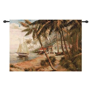 "Key West Hideaway with Sailboat Cotton Wall Art Hanging Tapestry 35"" x 47"""