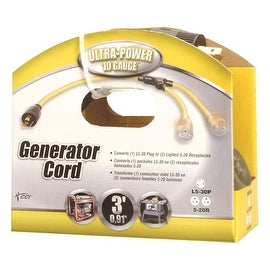 Coleman Cable 3' 10/3 Generator Cord