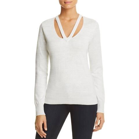 T Tahari Womens Ramona Pullover Sweater Metallic Long Sleeves