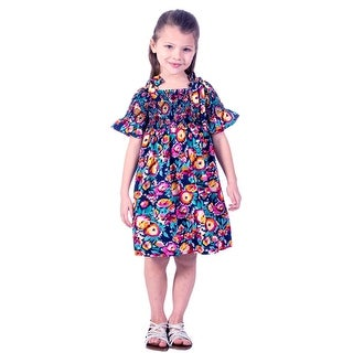 Bonnie Jean Girls Navy Floral Print Flared Sleeve Casual Dress