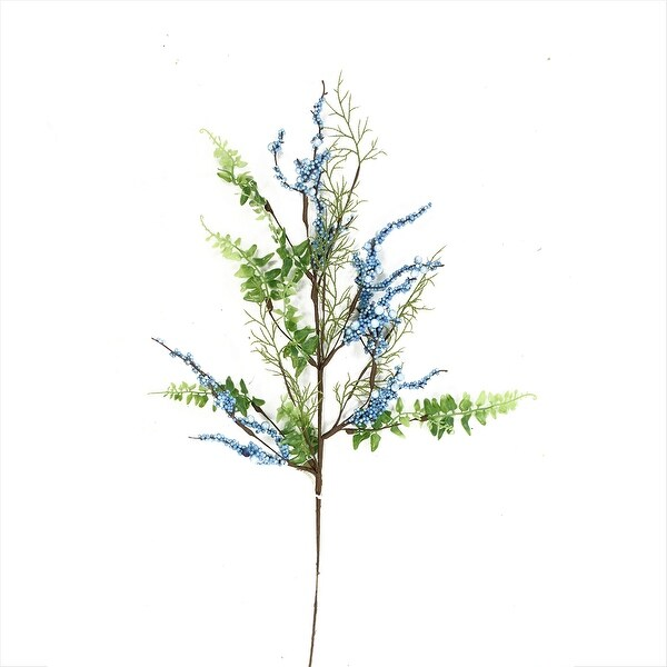 29'' Blue, Green and Brown Decorative Artificial Berry Pick - N/A