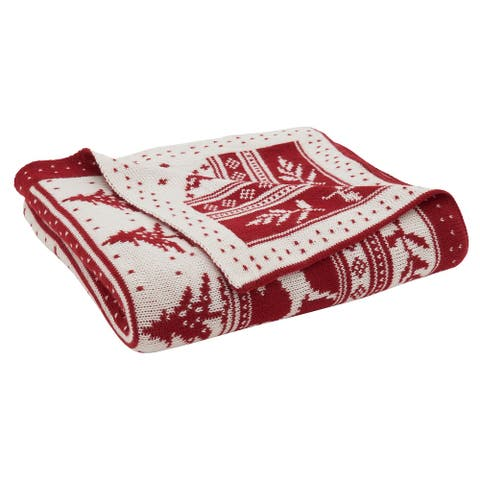 Knit Throw Blanket With Christmas Design